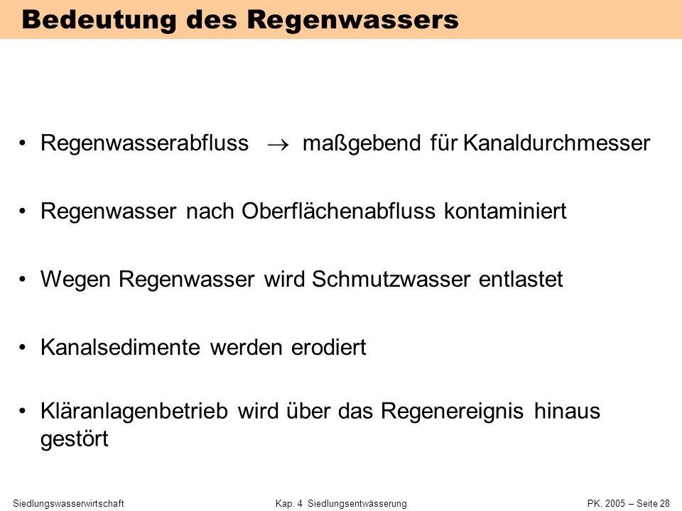 SiedlungswasserwirtschaftKap. 4 Siedlungsentwässerung PK, 2005 – Seite 27 Niederschlag-Abfluss-Prozess Niederschlag  Abfluss nicht vorhersagbar sta