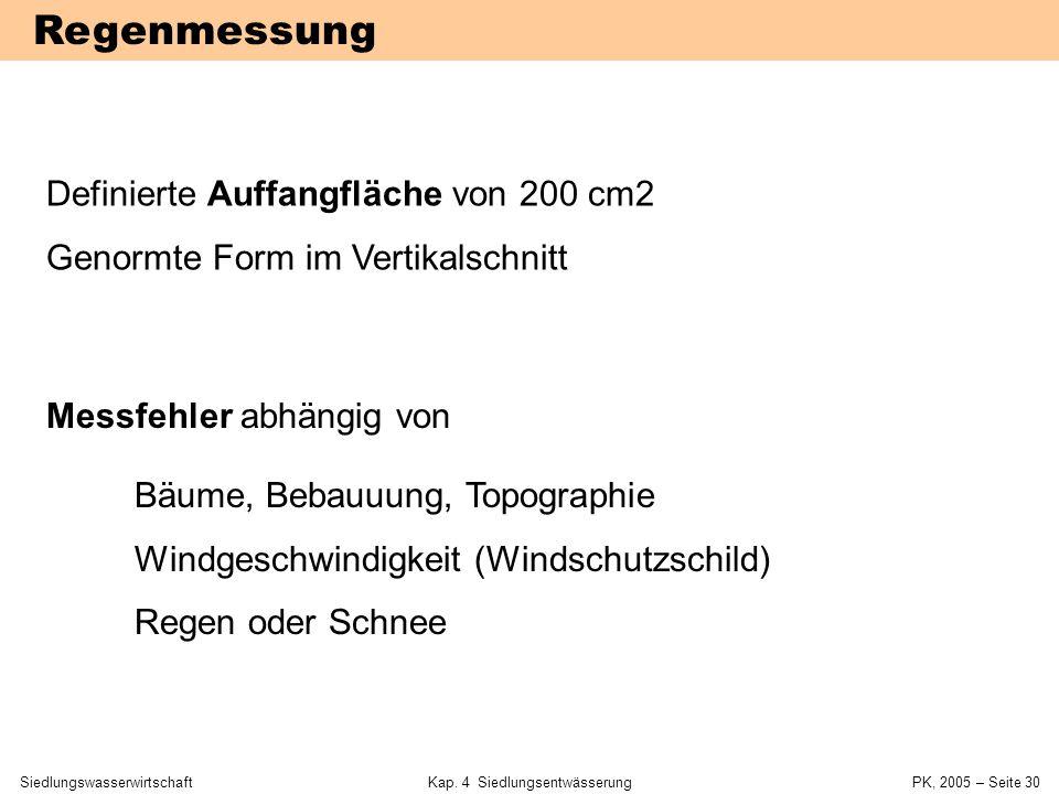 SiedlungswasserwirtschaftKap. 4 Siedlungsentwässerung PK, 2005 – Seite 29 Regenmessung Syphon-SchreiberNiederschlagswaageMesswippe