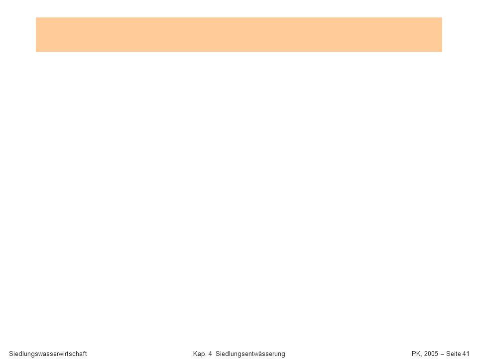 SiedlungswasserwirtschaftKap. 4 Siedlungsentwässerung PK, 2005 – Seite 40 Trockenwetter- und Regenwetterabfluss Einwohnerdichtee = 100 E/ha TW-Verbrau