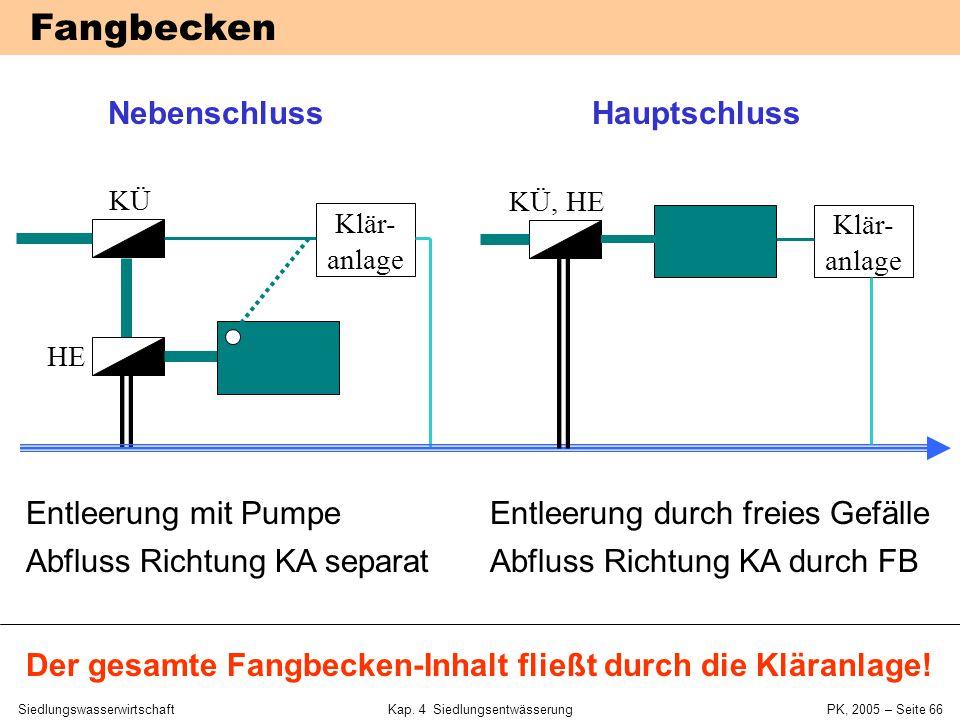 """SiedlungswasserwirtschaftKap. 4 Siedlungsentwässerung PK, 2005 – Seite 65 Mischwasserbecken (""""Regenüberlaufbecken"""") Fangbecken Durchlaufbecken Verbund"""
