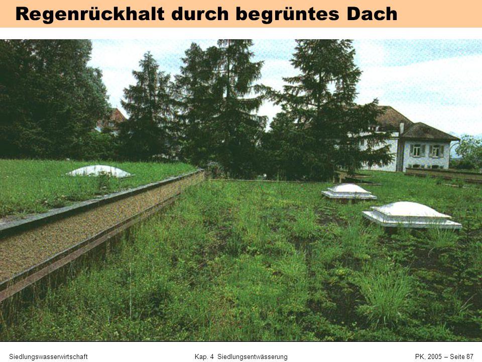 SiedlungswasserwirtschaftKap. 4 Siedlungsentwässerung PK, 2005 – Seite 86 Dimensionierung Regenrückhaltebecken Beispiel: z= 5a, Au = 3 ha, Q ab = 0,1