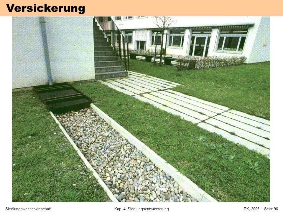 SiedlungswasserwirtschaftKap. 4 Siedlungsentwässerung PK, 2005 – Seite 95 Bemessung (ATV A 138) Bilanz von Zufluss und Versickerung