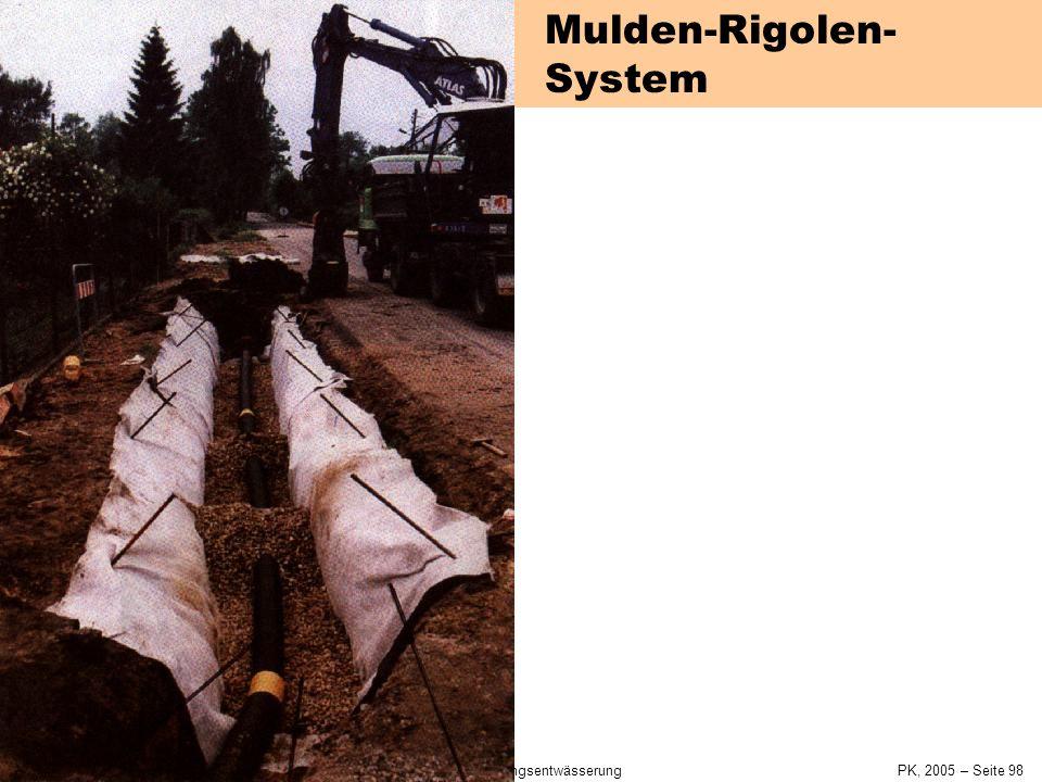 SiedlungswasserwirtschaftKap. 4 Siedlungsentwässerung PK, 2005 – Seite 97 Mulden-Rigolen-System