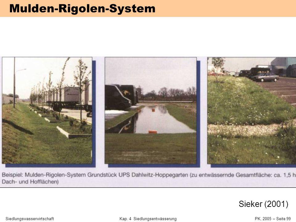SiedlungswasserwirtschaftKap. 4 Siedlungsentwässerung PK, 2005 – Seite 98 Mulden-Rigolen- System