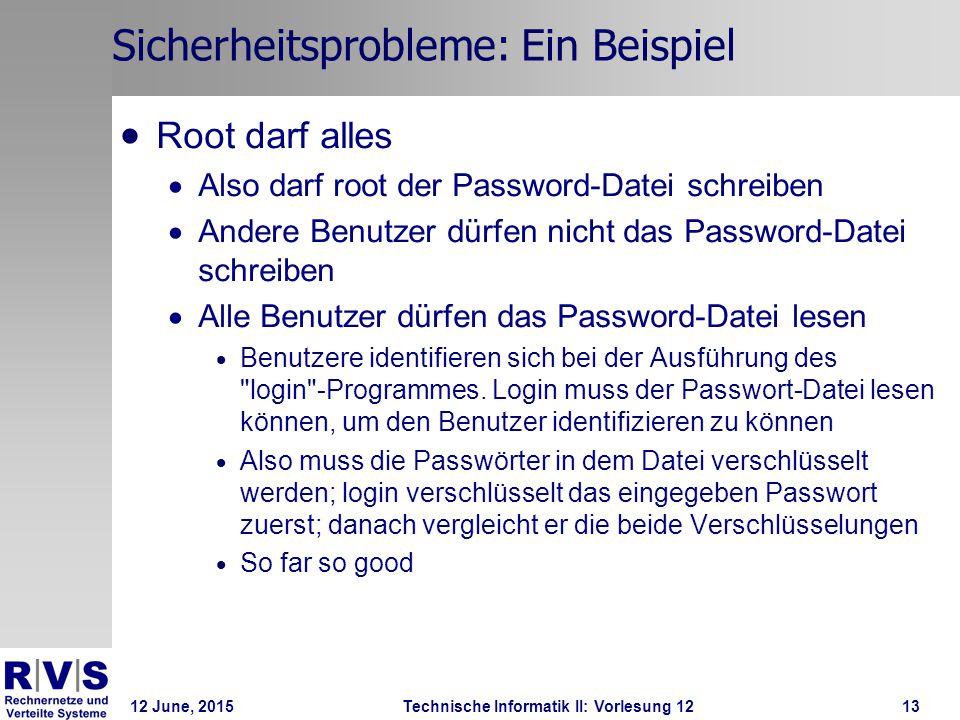 12 June, 2015Technische Informatik II: Vorlesung 1213 Sicherheitsprobleme: Ein Beispiel  Root darf alles  Also darf root der Password-Datei schreibe