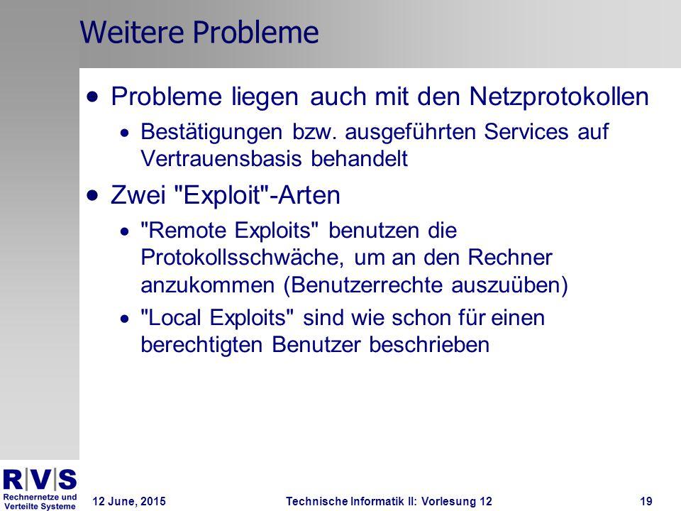 12 June, 2015Technische Informatik II: Vorlesung 1219 Weitere Probleme  Probleme liegen auch mit den Netzprotokollen  Bestätigungen bzw. ausgeführte