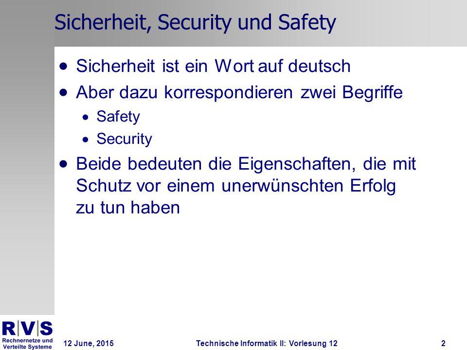 12 June, 2015Technische Informatik II: Vorlesung 123 Safety und Security  Safety  Schutz vor einer unabsichtlichen ungewünschten Wirkung eines Systems  Security  Schutz vor einer absichtlichen ungewünschten Wirkung eines Systems