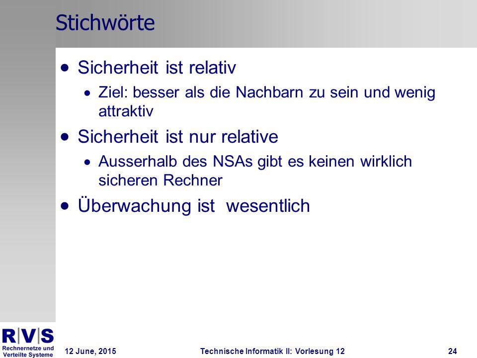 12 June, 2015Technische Informatik II: Vorlesung 1224 Stichwörte  Sicherheit ist relativ  Ziel: besser als die Nachbarn zu sein und wenig attraktiv