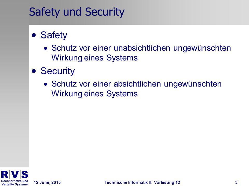 12 June, 2015Technische Informatik II: Vorlesung 1224 Stichwörte  Sicherheit ist relativ  Ziel: besser als die Nachbarn zu sein und wenig attraktiv  Sicherheit ist nur relative  Ausserhalb des NSAs gibt es keinen wirklich sicheren Rechner  Überwachung ist wesentlich