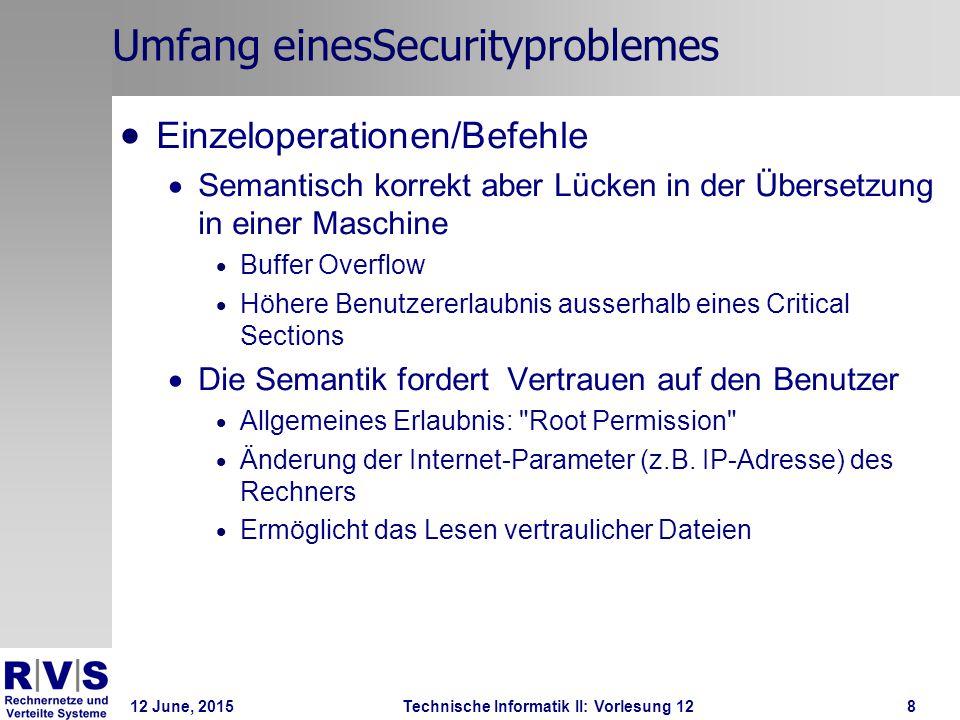12 June, 2015Technische Informatik II: Vorlesung 128 Umfang einesSecurityproblemes  Einzeloperationen/Befehle  Semantisch korrekt aber Lücken in der