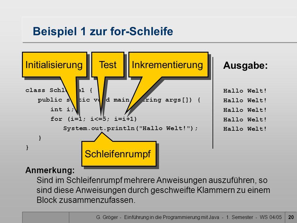 G. Gröger - Einführung in die Programmierung mit Java - 1. Semester - WS 04/0520 Beispiel 1 zur for-Schleife Anmerkung: Sind im Schleifenrumpf mehrere
