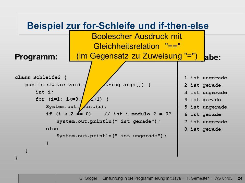 G. Gröger - Einführung in die Programmierung mit Java - 1. Semester - WS 04/0524 Beispiel zur for-Schleife und if-then-else Programm: class Schleife2