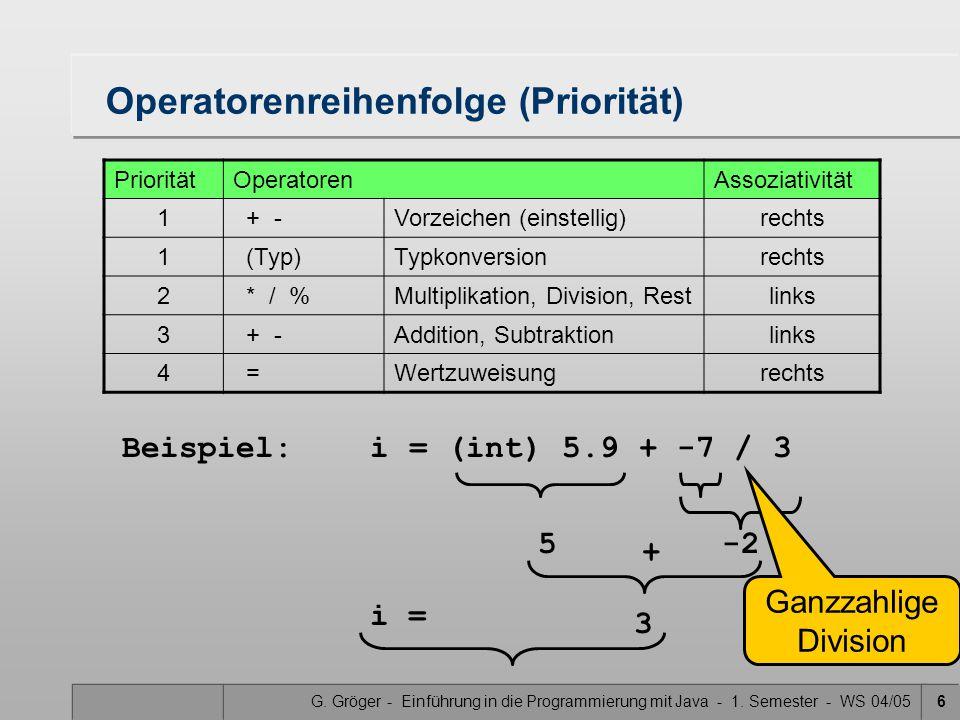 G. Gröger - Einführung in die Programmierung mit Java - 1. Semester - WS 04/056 Operatorenreihenfolge (Priorität) PrioritätOperatorenAssoziativität 1