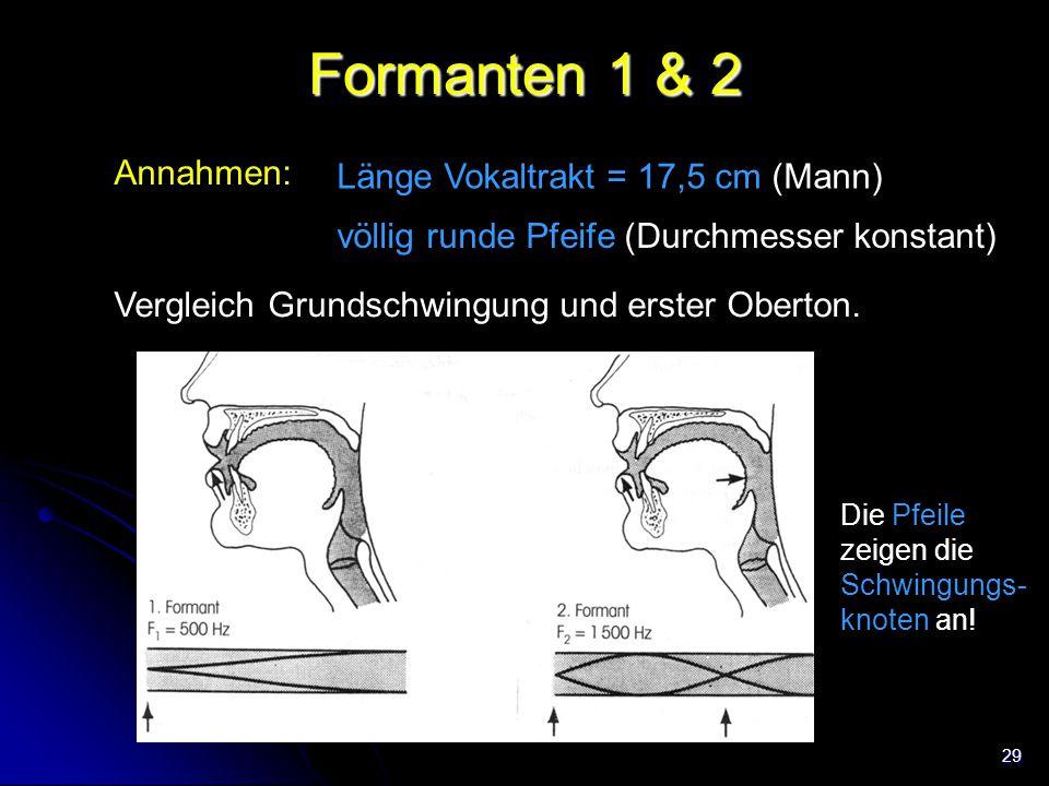 29 Formanten 1 & 2 Annahmen: Länge Vokaltrakt = 17,5 cm (Mann) Vergleich Grundschwingung und erster Oberton. völlig runde Pfeife (Durchmesser konstant