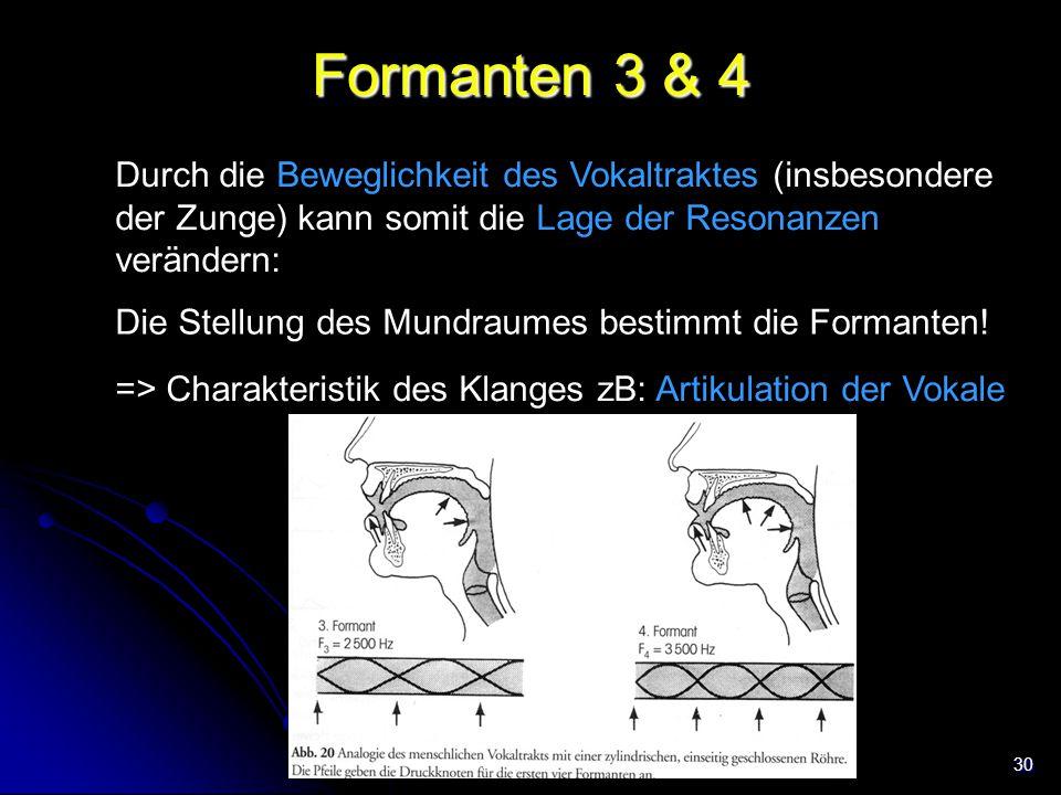 30 Formanten 3 & 4 Durch die Beweglichkeit des Vokaltraktes (insbesondere der Zunge) kann somit die Lage der Resonanzen verändern: Die Stellung des Mu
