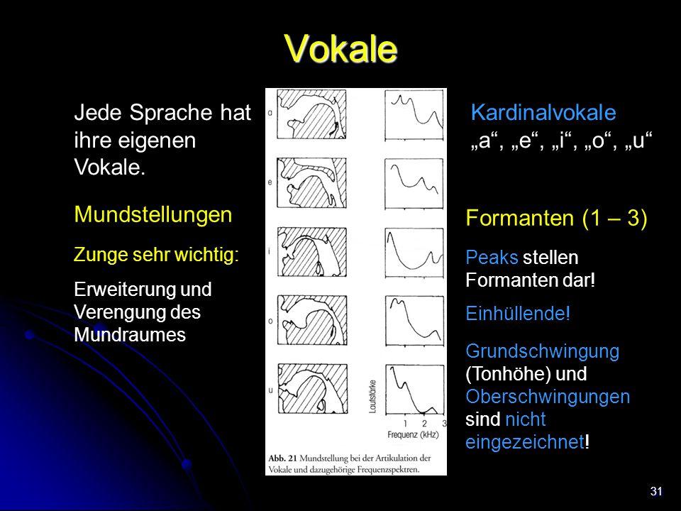"""31 Vokale Jede Sprache hat ihre eigenen Vokale. Mundstellungen Kardinalvokale """"a"""", """"e"""", """"i"""", """"o"""", """"u"""" Formanten (1 – 3) Peaks stellen Formanten dar! E"""