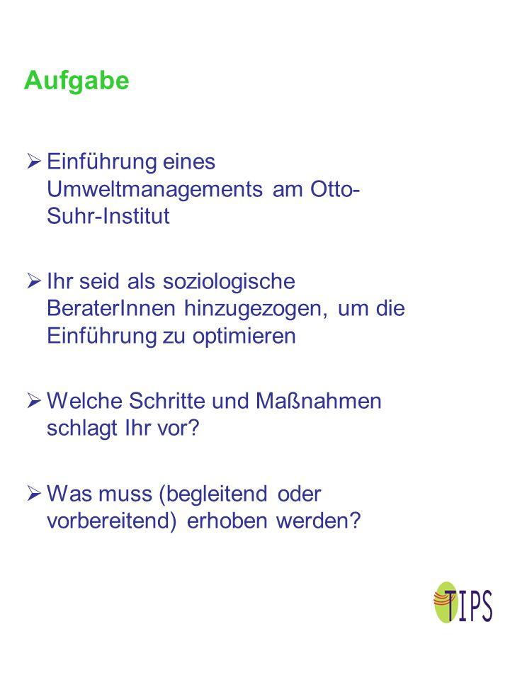 Aufgabe  Einführung eines Umweltmanagements am Otto- Suhr-Institut  Ihr seid als soziologische BeraterInnen hinzugezogen, um die Einführung zu optim