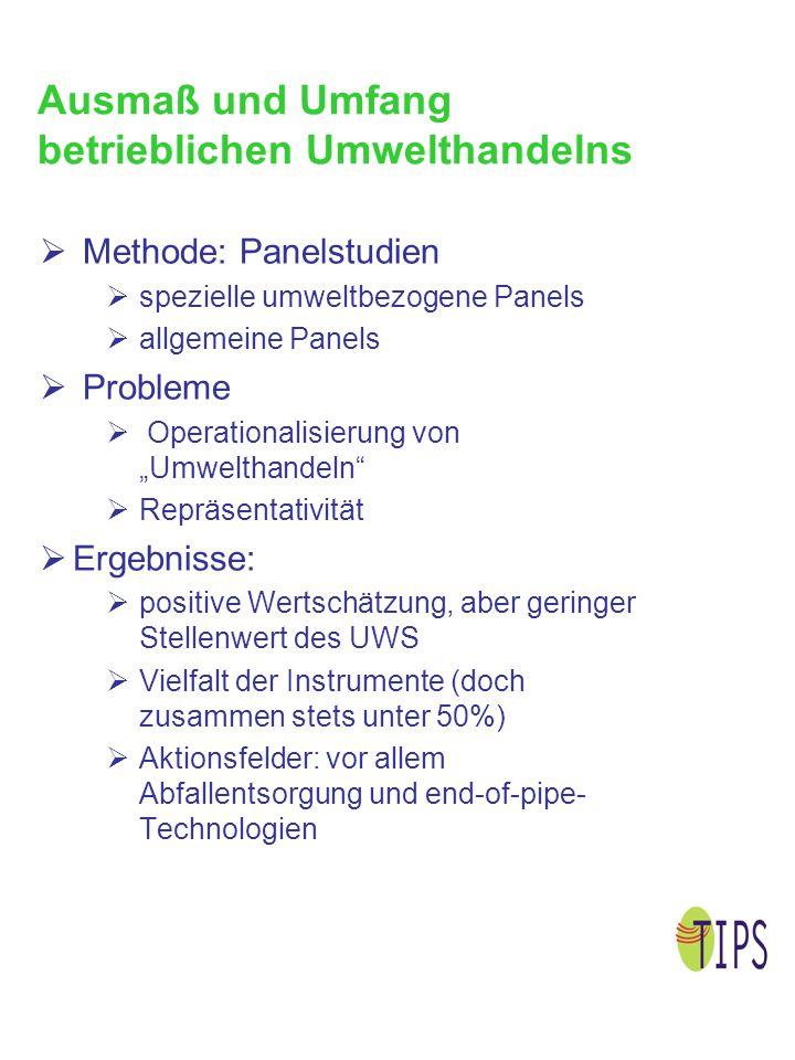 Motive betrieblichen Umwelthandelns  Methoden  direkte Befragung von Unternehmensvertretern zu Umweltthemen (kritisch)  Auswertung von Unternehmensdokumenten, z.B.