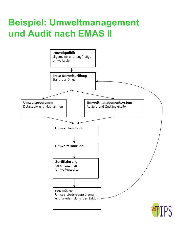 Beispiel: Umweltmanagement und Audit nach EMAS II Umweltpolitik allgemeine und langfristige Umweltziele Erste Umweltprüfung Stand der Dinge Umweltprog