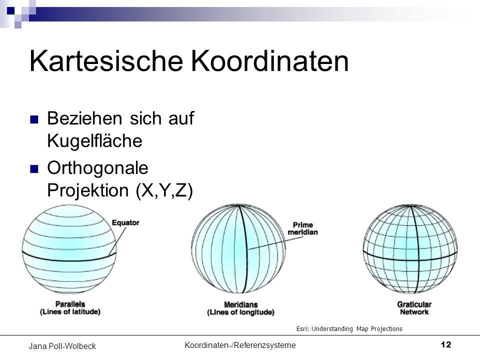 Koordinaten-/Referenzsysteme12 Jana Poll-Wolbeck Kartesische Koordinaten Beziehen sich auf Kugelfläche Orthogonale Projektion (X,Y,Z) Esri: Understand
