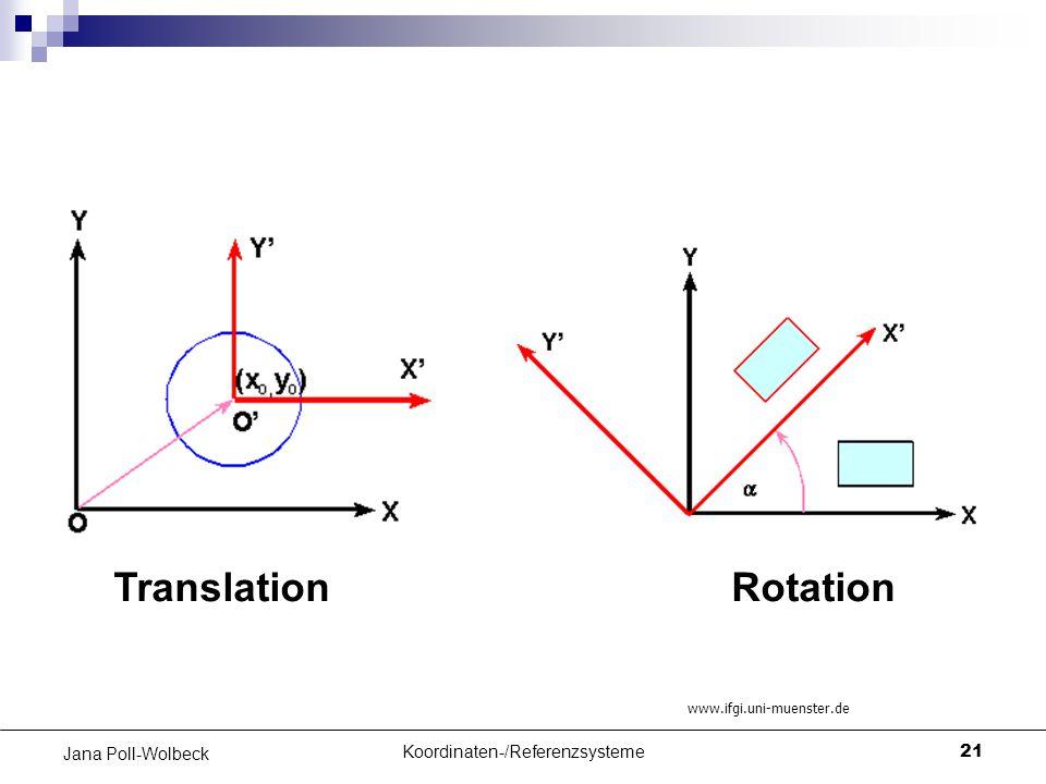 Koordinaten-/Referenzsysteme21 Jana Poll-Wolbeck TranslationRotation www.ifgi.uni-muenster.de