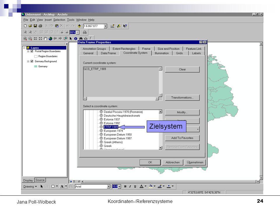 Koordinaten-/Referenzsysteme24 Jana Poll-Wolbeck Zielsystem