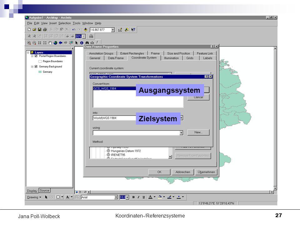 Koordinaten-/Referenzsysteme27 Jana Poll-Wolbeck Ausgangssystem Zielsystem