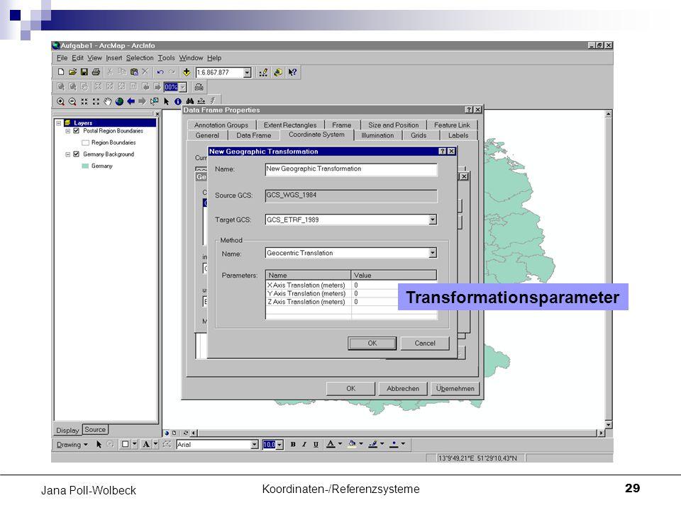 Koordinaten-/Referenzsysteme29 Jana Poll-Wolbeck Transformationsparameter
