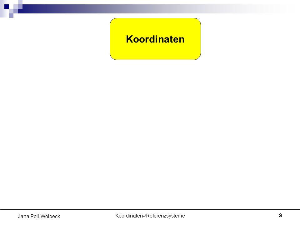 Koordinaten-/Referenzsysteme3 Jana Poll-Wolbeck Koordinaten Koordinatensystem DatumBezugsfläche Referenzsystem