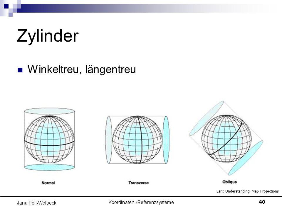 Koordinaten-/Referenzsysteme40 Jana Poll-Wolbeck Zylinder Winkeltreu, längentreu Esri: Understanding Map Projections