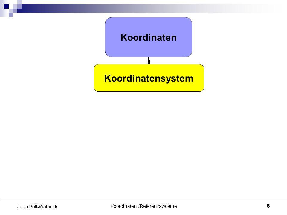 Koordinaten-/Referenzsysteme5 Jana Poll-Wolbeck Koordinaten Koordinatensystem