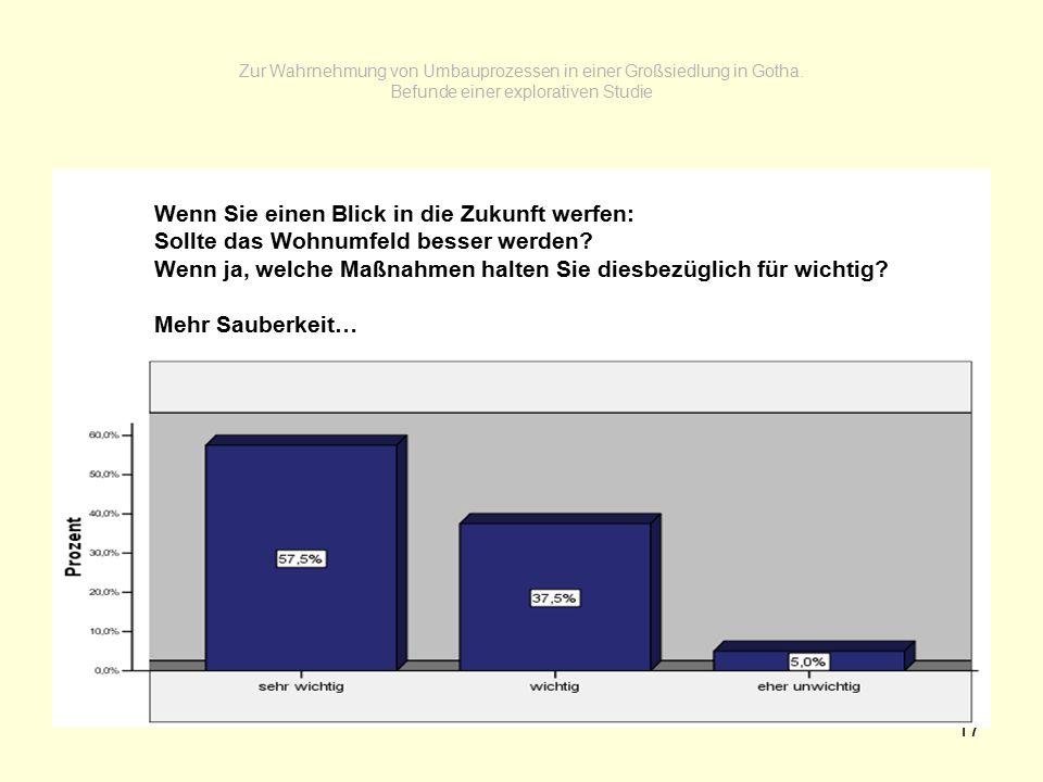17 Zur Wahrnehmung von Umbauprozessen in einer Großsiedlung in Gotha. Befunde einer explorativen Studie Wenn Sie einen Blick in die Zukunft werfen: So