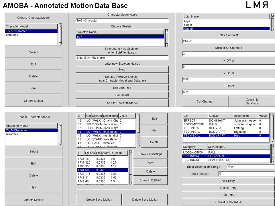 AMOBA - Annotated Motion Data Base gcc, 18.12.01, Piesk
