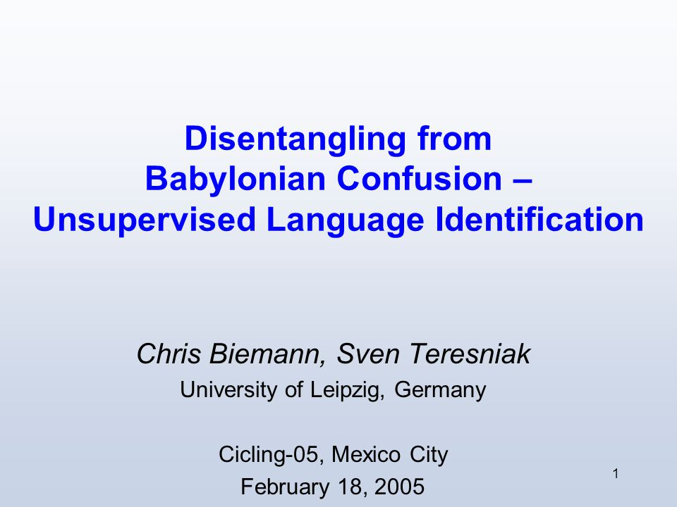 2 Outline 1.Review: Supervized Language Identification 2.Co-occurrence graphs Co-occurrences Visualizing co-occurrences 3.Chinese Whispers Algorithm Finding words of the same language 4.