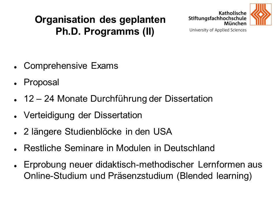 Organisation des geplanten Ph.D. Programms (II) Comprehensive Exams Proposal 12 – 24 Monate Durchführung der Dissertation Verteidigung der Dissertati