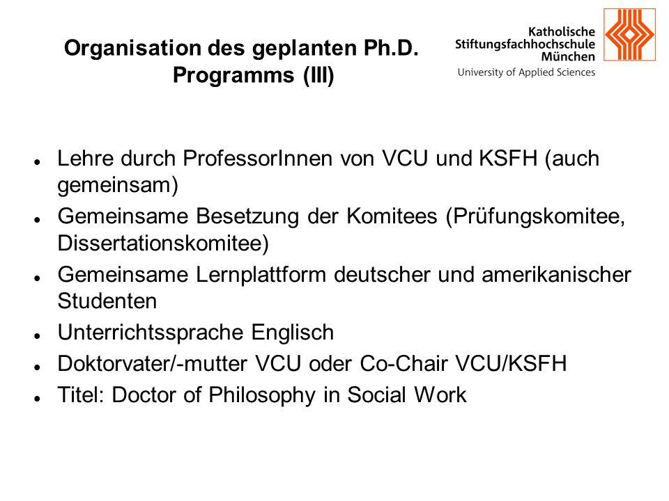 Organisation des geplanten Ph.D. Programms (III) Lehre durch ProfessorInnen von VCU und KSFH (auch gemeinsam) Gemeinsame Besetzung der Komitees (Prü