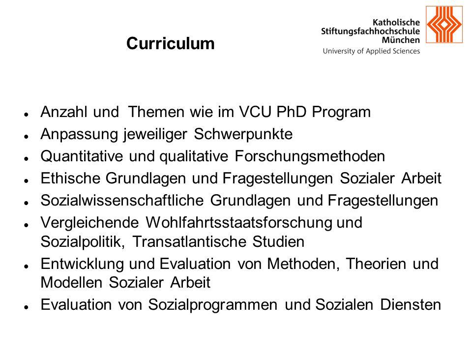 Curriculum Anzahl und Themen wie im VCU PhD Program Anpassung jeweiliger Schwerpunkte Quantitative und qualitative Forschungsmethoden Ethische Grundla
