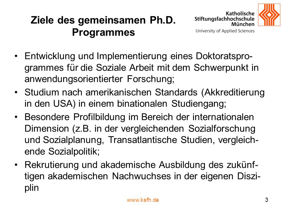Studienphase – VCU Kurse im Überblick Semester 3 Practice = Development and Evaluation of Social Work Practice Theories and Models Directed Research = Individual student research in preparation for dissertation Research Elective = Advanced research methods elective course Semester 4 Multivariate Stat.
