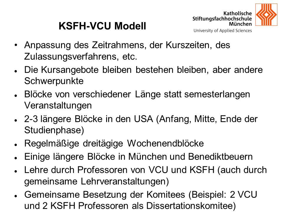 KSFH-VCU Modell Anpassung des Zeitrahmens, der Kurszeiten, des Zulassungsverfahrens, etc. Die Kursangebote bleiben bestehen bleiben, aber andere Schwe