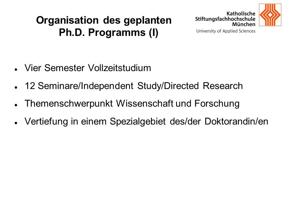 Organisation des geplanten Ph.D. Programms (I) Vier Semester Vollzeitstudium 12 Seminare/Independent Study/Directed Research Themenschwerpunkt Wissen
