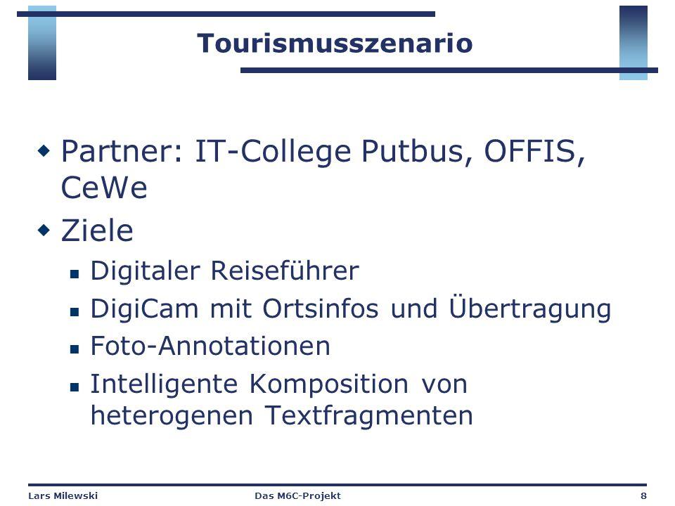 Lars MilewskiDas M6C-Projekt8 Tourismusszenario  Partner: IT-College Putbus, OFFIS, CeWe  Ziele Digitaler Reiseführer DigiCam mit Ortsinfos und Übertragung Foto-Annotationen Intelligente Komposition von heterogenen Textfragmenten