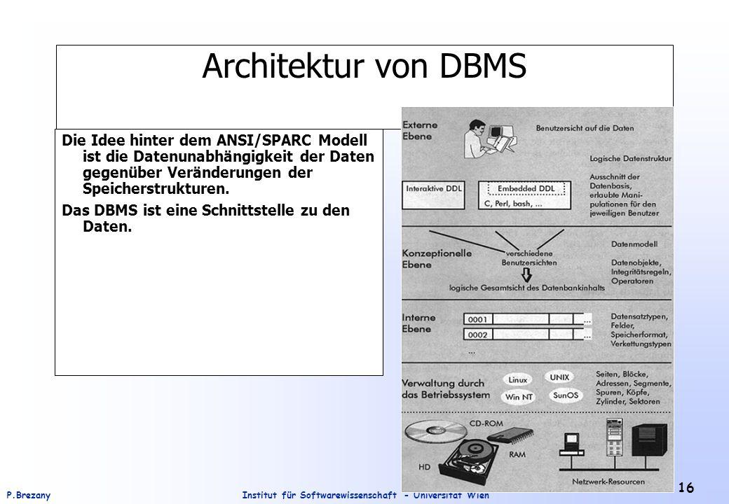Institut für Softwarewissenschaft - Universität WienP.Brezany 16 Architektur von DBMS Die Idee hinter dem ANSI/SPARC Modell ist die Datenunabhängigkei