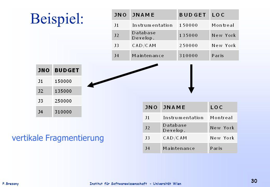 Institut für Softwarewissenschaft - Universität WienP.Brezany 30 Beispiel: vertikale Fragmentierung