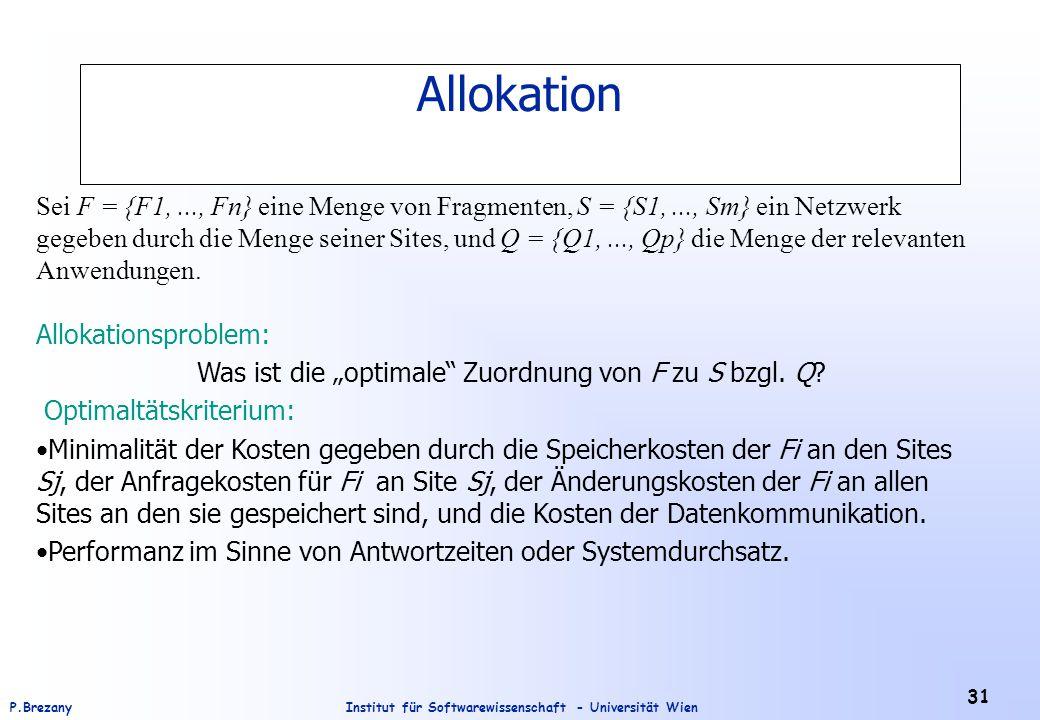 Institut für Softwarewissenschaft - Universität WienP.Brezany 31 Sei F = {F1,..., Fn} eine Menge von Fragmenten, S = {S1,..., Sm} ein Netzwerk gegeben