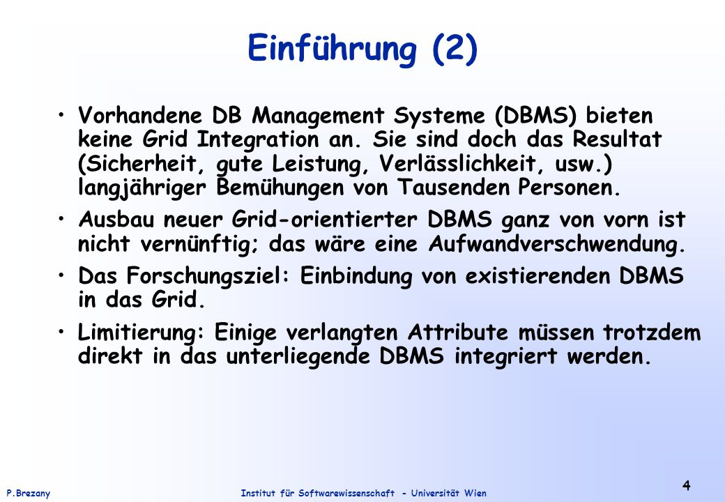 Institut für Softwarewissenschaft - Universität WienP.Brezany 35 Federating Database Systems Across the Grid A Grid application interfacing directly to a set of DBS