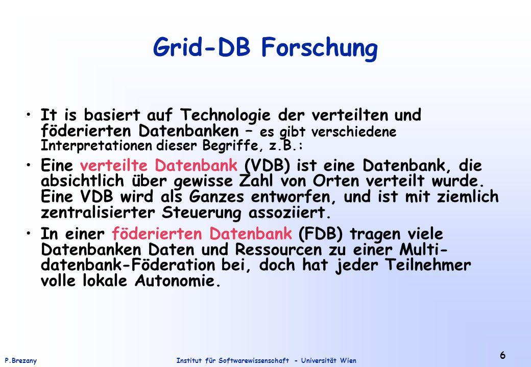 Institut für Softwarewissenschaft - Universität WienP.Brezany 37 Database Database Service (GDS) Entdeckung des DB services Die Beschreibung der DB services mußt publiziert (registriert) werden: –Inhalt der DB –Details über DB Operationen –usw.