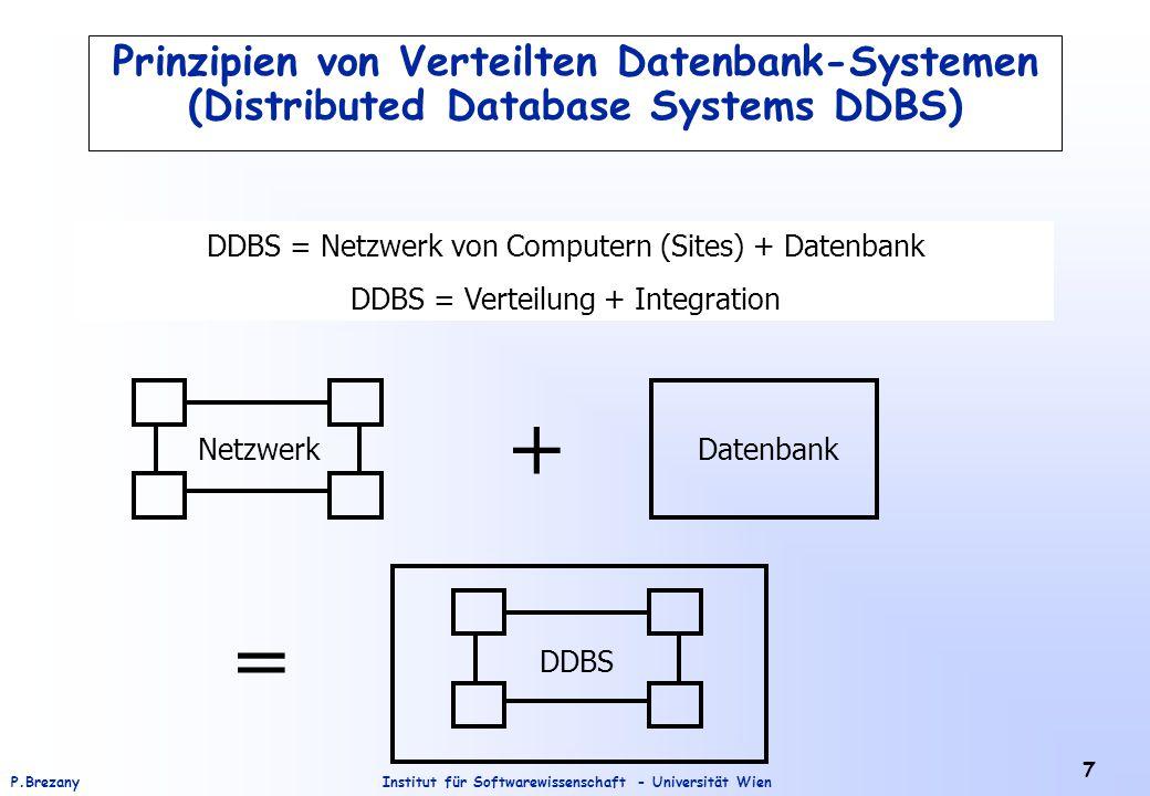 Institut für Softwarewissenschaft - Universität WienP.Brezany 7 Prinzipien von Verteilten Datenbank-Systemen (Distributed Database Systems DDBS) DDBS