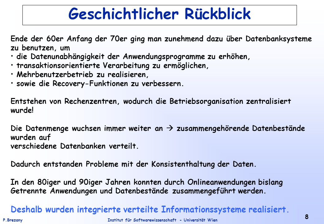 Institut für Softwarewissenschaft - Universität WienP.Brezany 39 Distributed Query Service The role of a distributed query service is to allow individual queries to access multiple DB, thereby allowing the system to take responsibility for query optimization and efficient evaluation.