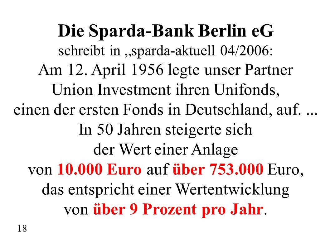 """Die Sparda-Bank Berlin eG schreibt in """"sparda-aktuell 04/2006: Am 12. April 1956 legte unser Partner Union Investment ihren Unifonds, einen der ersten"""