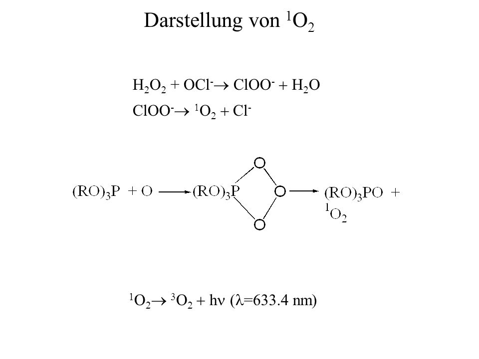 H 2 O 2 + OCl -  ClOO -    ClOO -      Cl - 1 O 2      h  ( =633.4 nm) Darstellung von 1 O 2